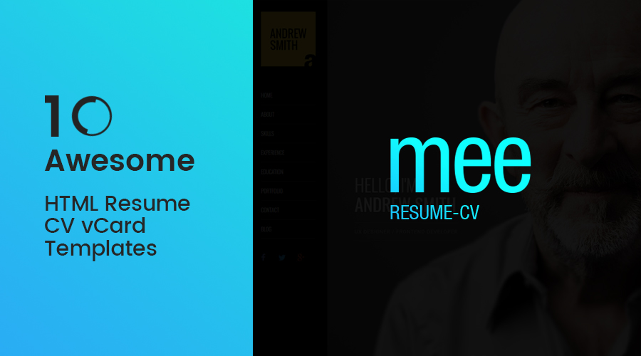 10+ Awesome HTML Resume CV vCard Templates 2016