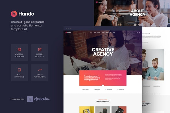 Hando – Corporate & Portfolio Elementor Template Kit